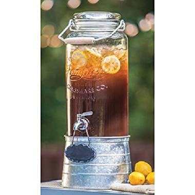 FarmStand 2.5 Gallon Glass Beverage Dispenser with Galvanized Steel Frame Vintage