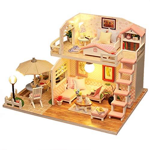 Rosa Loft DIY de madera casa de muñecas Kits con mueble en miniatura casa de muñecas LED día de San Valentín cumpleaños...