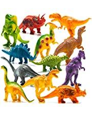"""Prextex Realistic Looking 7"""" Dinosaurs Pack of 12 Large Plastic Assorted Dinosaur Figures"""