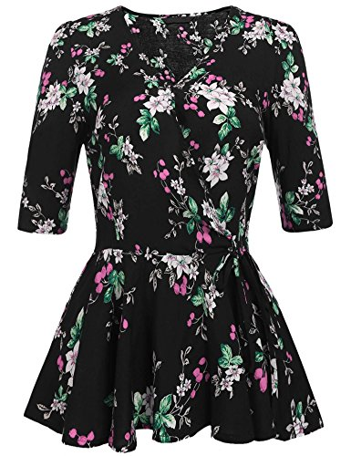 Concep Peplum Tops V Neck Long Sleeve Shirts Floral Print Boho Blouses for Women (Black, XL)