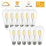 (pack of 12)Not-Dimmable 4 Watt ST64 Edison LED Bulbs(40Watt Incandescent Equivalent),4000K Natural White E26 Medium Base Bulbs 120V 400Lumens 360 Degree Indoor Outdoor Security Decorative Lighting