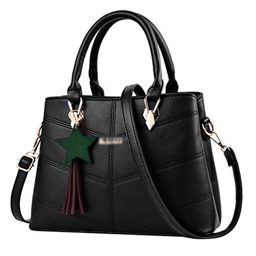PU Hombro Bolsa Bolso De Negro De Bolsos Mano Baymate Moda de Cuero Mujer WXSxPz