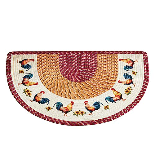 Braided French Country Rooster Slice Accent Rug - Decor for Kitchen, Slice