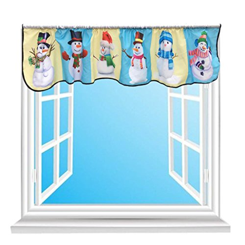 Euone Christmas Printing Curtain Decorative Christmas Santa Claus Snowman Design Tapestry Window Valance