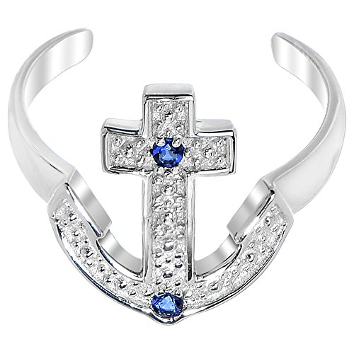 Au Toe Ring - 925 Sterling Silver Nautical Anchor Blue Cubic Zirconia Toe Ring