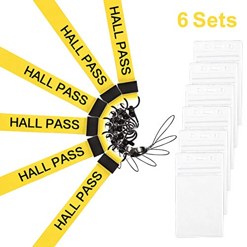 Melife 6 Pack Hall Pass Lanyards with ID Badge Holder Card Passes & Safety Breakaway Lanyards Keys J Hooks Clip Vertical Plastic Sleeve Cover Waterproof Nametags Protectors Office School -Yellow ()