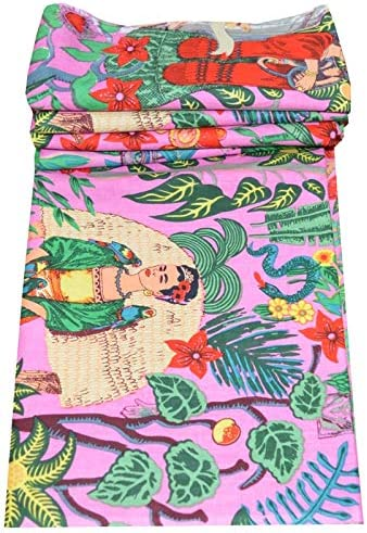 Tela de algodón indio, diseño de Frida Kahlo, algodón, rosa, 5 ...