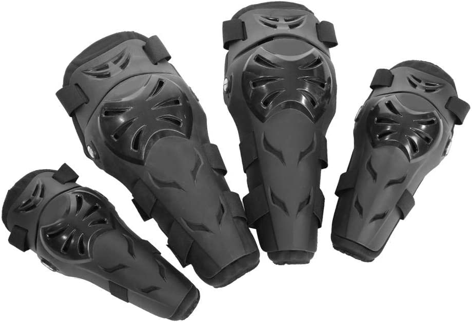 Akozon 4 piezas de rodilleras coderas Motocicleta Motocross Ciclismo Protector Guardia Conjunto de armaduras Brazo protector de antebrazo Protección contra caídas para adultos(Negro)