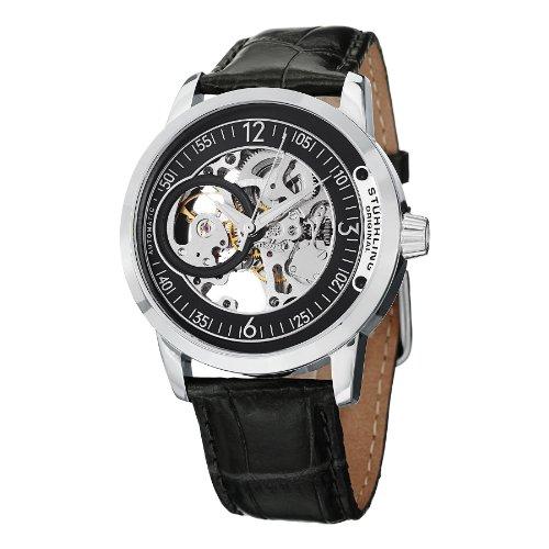 Delphi Mens Skeleton - Stuhrling Original Men's 837.02 Delphi Automatic Skeleton Black Dial Watch
