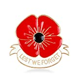 Remembrance Day Memorial Day Gift Poppy Brooch Pins Lest We Forget Flower Badge Broach