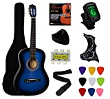 "Crescent 38"" Blue Beginner Acoustic Guitar Starter Package Student Guitar with Gig Bag,Strap, Extra Strings, Electronic Tuner -Blue"