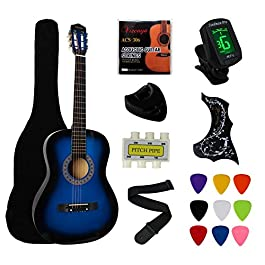YMC 38″ Blue Beginner Acoustic Guitar Starter Package Student Guitar with Gig Bag,Strap, 3 Thickness 9 Picks,2 Pickguards,Pick Holder, Extra Strings, Electronic Tuner -Blue