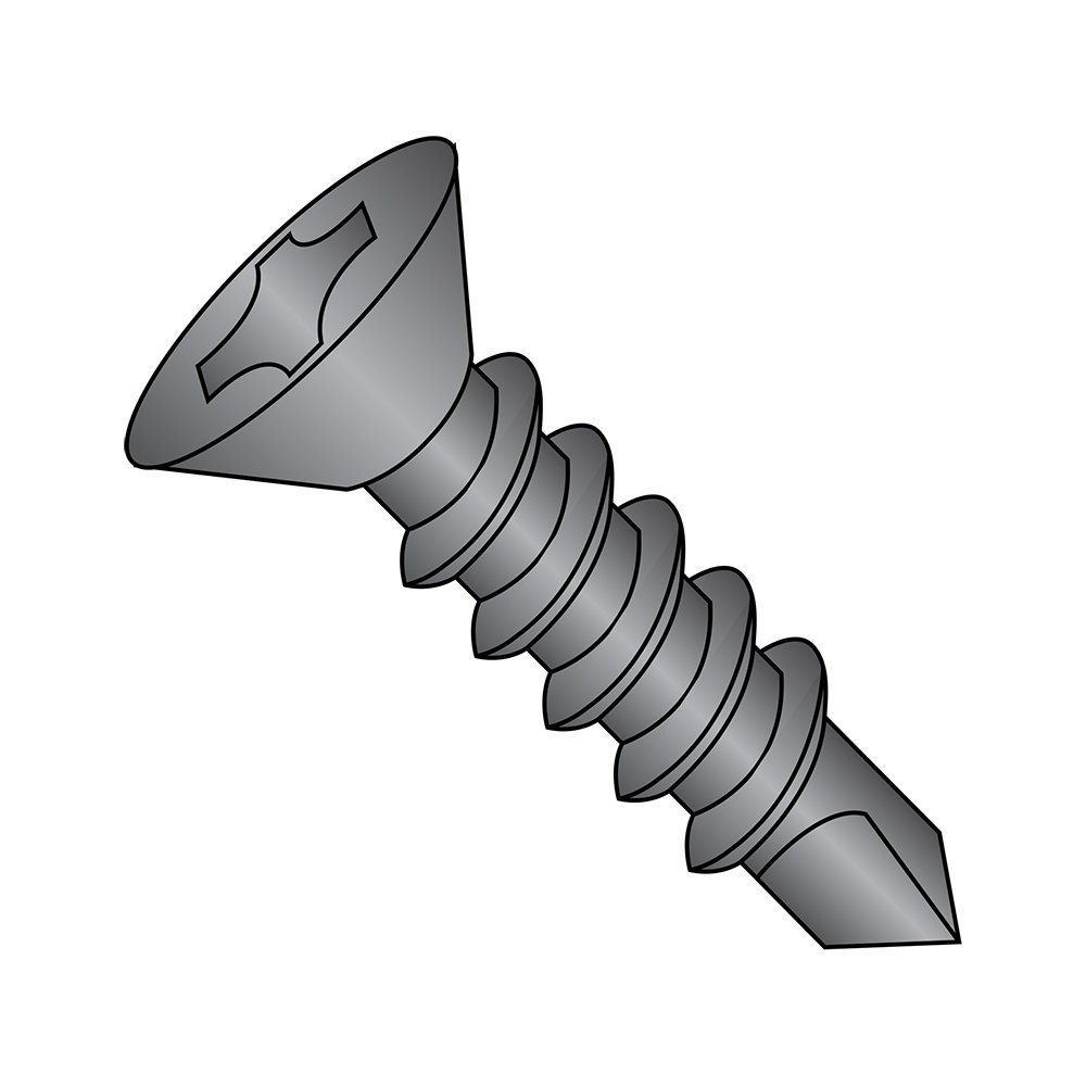 Steel Self-Drilling Screw, Black Oxide Finish, 82 Degree Flat Head, Phillips Drive, #3 Drill Point, #10-16 Thread Size, 1'' Length (Pack of 50)