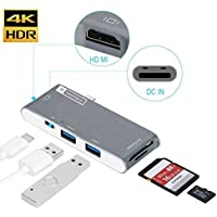 USB C Hub, BanditoBlue USB Type C / HDMI Hub Multi-port adapter with passthrough charging, HDMI 4k output TF SD card reader 2 USB 3.0 ports for MacBook and all other Type C Devices 6 in 1 (Space Gray)