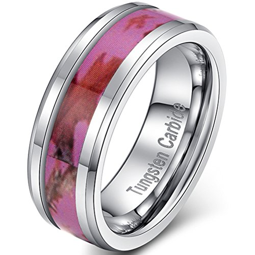 Womens 8mm Tungsten Carbide Ring Pink Camouflage Hunting Camo Maple Leave Vintage Wedding Engagement Band