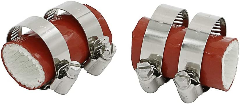 Alpha Rider 2X 1 id Rubber Exhaust Pipe Clamps For Yamaha Banshee All Years FMF DG Factory Red
