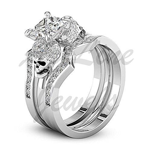 ArtLine Jewels White Diamond Wedding Skull Engagement Trio Ring Set In 14k White Gold Finishing by ArtLine Jewels