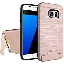Zutoben Galaxy S7 Case Wire Drawing Shockproof Hard Armor Card Slot Holder Protective Shell Kickstand