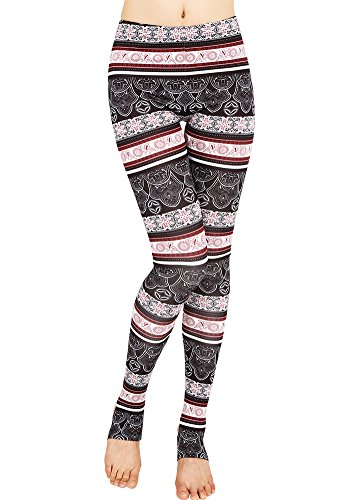 CinGr8 3D Printed Aztec Tribal Leggings Stirrups Stretchy Plus Size (Outline Fishnet)