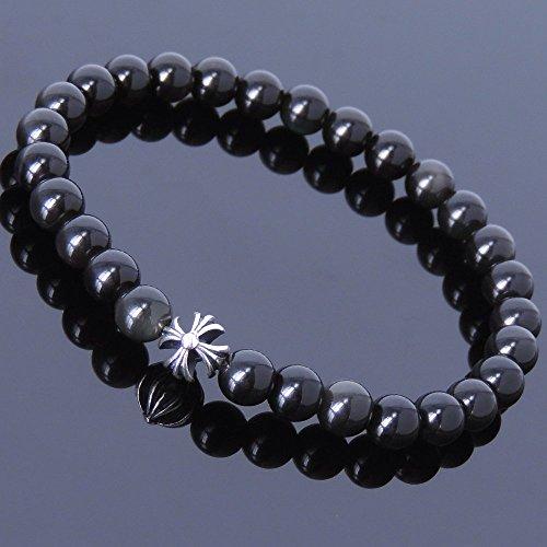 Men and Women Bracelet Handmade with 6mm Natural Black Obsidian Gemstone and Genuine 925 Sterling Silver Celtic Cross ()