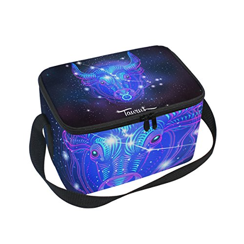 Constellation Zodiac Sign Taurus Insulated Lunch Bag Box Cooler Bag Reusable Tote Bag Outdoor Travel Picnic Bags