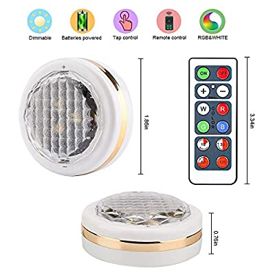 LEASTYLE Wireless LED Puck Lights with Remote Control, RGBW 12 Colors Changing Under Cabinet Lighting,Battery Operated Closet Light, Multicolor Lights for Bedroom,Bathroom,Kitchen,Hallowmas