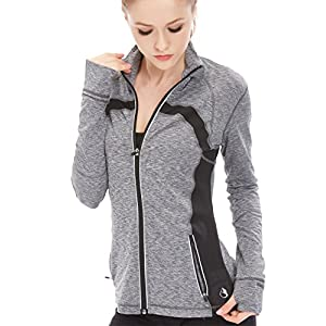 icyzone Women's Stretch Running Workout Yoga Full Zip Jacket With Thumb Holes (L, Gray Melange)