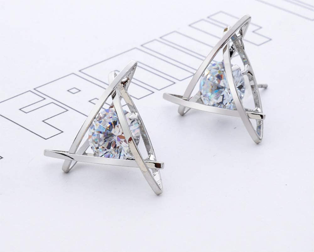 Aimys Rose Gold Stud Earrings Hollow Triangle Sparkling Cubic Zirconia CZ Earrings for Women Expertly Made of Sparkling Starlight Round Cut for Women Girls Silver
