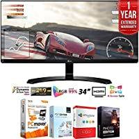 LG 34UM60-P 34-Inch IPS WFHD (2560 x 1080) Ultrawide Freesync Monitor (2017 Model) + Elite Suite 18 Standard Editing Software Bundle + 1 Year Extended Warranty