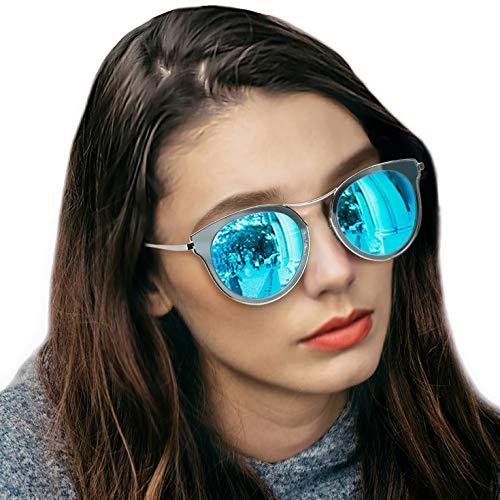 LVIOE Cat Eye Women's Sunglasses, Polarized Fashion Vintage Eyewear for Driving - 100% UV400 Protection (Crystal Silver Frame Blue Mirror Cat Eye ()
