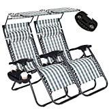 Cheap 2PC Zero Gravity Outdoor Lounge Chairs Adjustable Folding Patio Reclining Chairs Beach Chairs With Canopy Sunshade + Cup Holder + Accessory Slot -Green Plaid