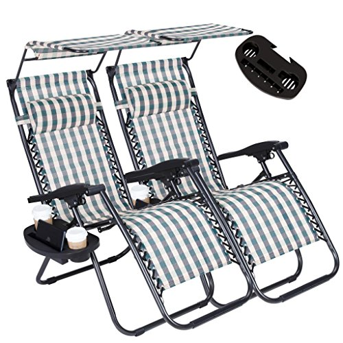 2PC ZeroGravityOutdoor Lounge Chairs Adjustable Folding Patio Reclining Chairs Beach Chairs With Canopy Sunshade + Cup Holder + Accessory Slot -Green Plaid