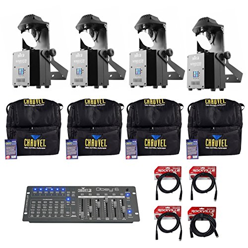 4 Chauvet DJ Intimidator Scan 305 IRC LED Mirror Scanners+Bags+Controller+Cables by Chauvet