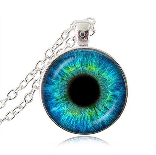 Eye Choker Necklace Animal Dragon Eyeball Pendant Blue Cat