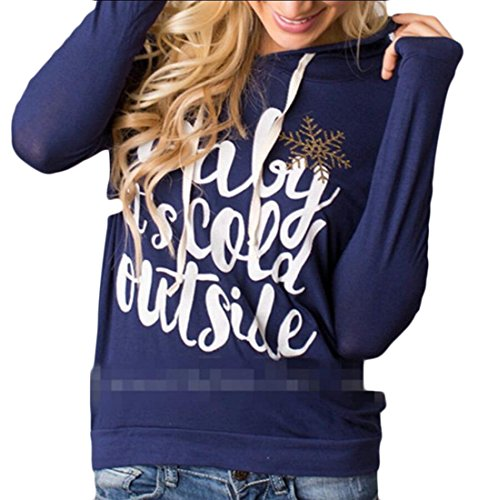 Blue Print Hoodies Hooded amp;S Women Blouse amp;W M Sleeve Long Christmas Letter Pullover SqO7w8ZR