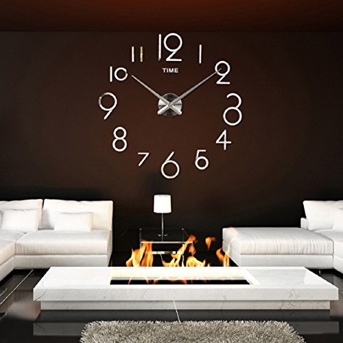 Ikevan 1 Set Acrylic Art Modern Wall Clock Living Room DIY 3D Wall Stickers Home Decoration Mirror Large Art Design (Silver)