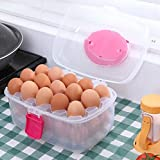 Large Capacity Double-layers Egg Holder Holds 30 Eggs Shatter-proof Non-slip Eggs Container with Handle for Picnic and Refrigerator, Color May Vary