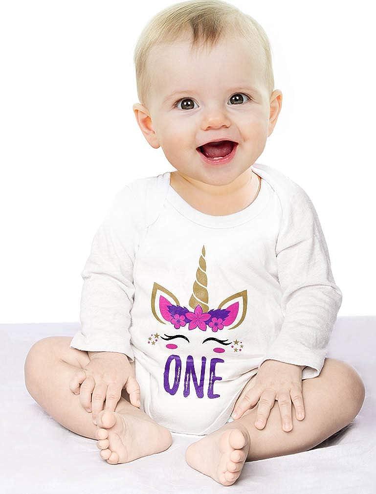 Tstars Gift for 1 Year Old Baby Girl 1st Birthday Unicorn Baby Long Sleeve Bodysuit