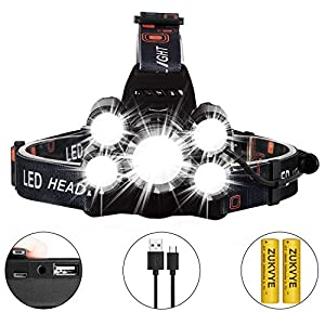 Zukvye CREE LED Headlamp Flashlight, 8000 Lumen Super Bright Headlamps, Zoomable Waterproof Headlight Rechargable 18650 Battery Best for Running, Camping, Fishing,Night Reading and DIY Works