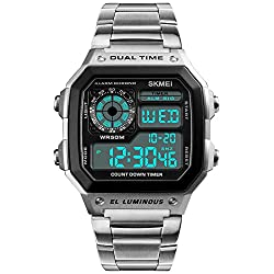 Men's Luxury Digital Quartz Waterproof Wrist Watches Dual Time Countdown Alarm Stopwatch Backlight Multi-Function Watch (Silver)