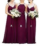 XJLY Purple A Line Long Chiffon Bridesmaid Dress Wedding Party Dress