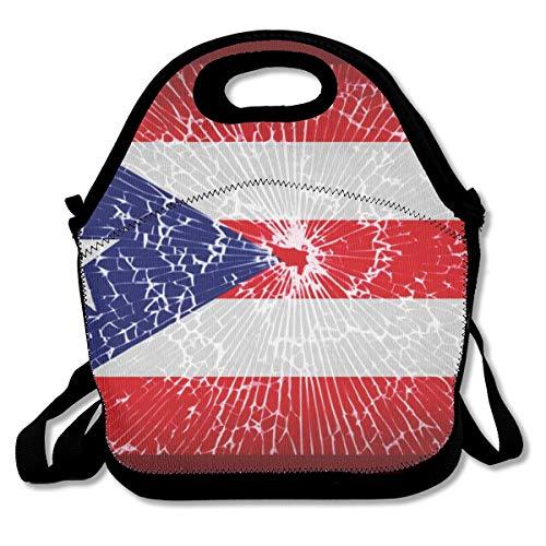 Premium Neoprene Puerto Rico Flag Tie Dye Lunchbox Women Handbag Insulated Thermal WaterproofCrossbody Bag for Meal Prep, Reusable Container - Moisture Resistant (Puerto Rico Casino)