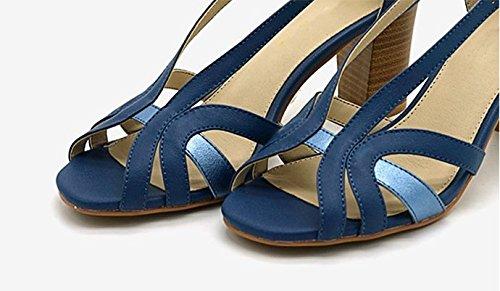 fashion Charol Clásicas y de Tacones blue Mujer Altos Tacones Tacones Cerrado cómodos Sexy Ruanlei ElegantesAudaz Altos hembra de elegante zapatos 50Sn7q6