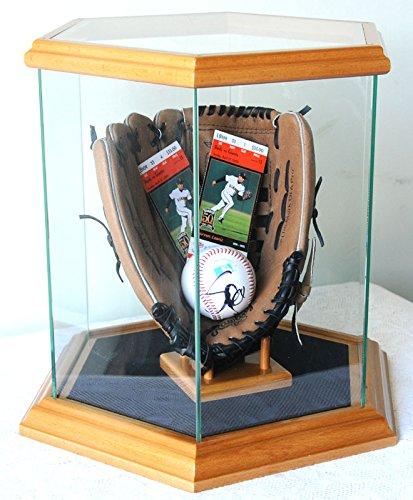 Hexagon Glass Display Case for Basketball, Soccer Ball, Helmets and more, Oak (Oak Base Football Display Case)