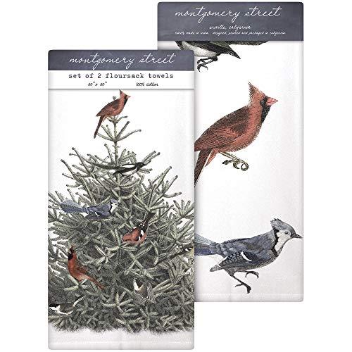 Montgomery Street Pine Tree and Birds Cotton Flour Sack Dish Towels, Set of 2