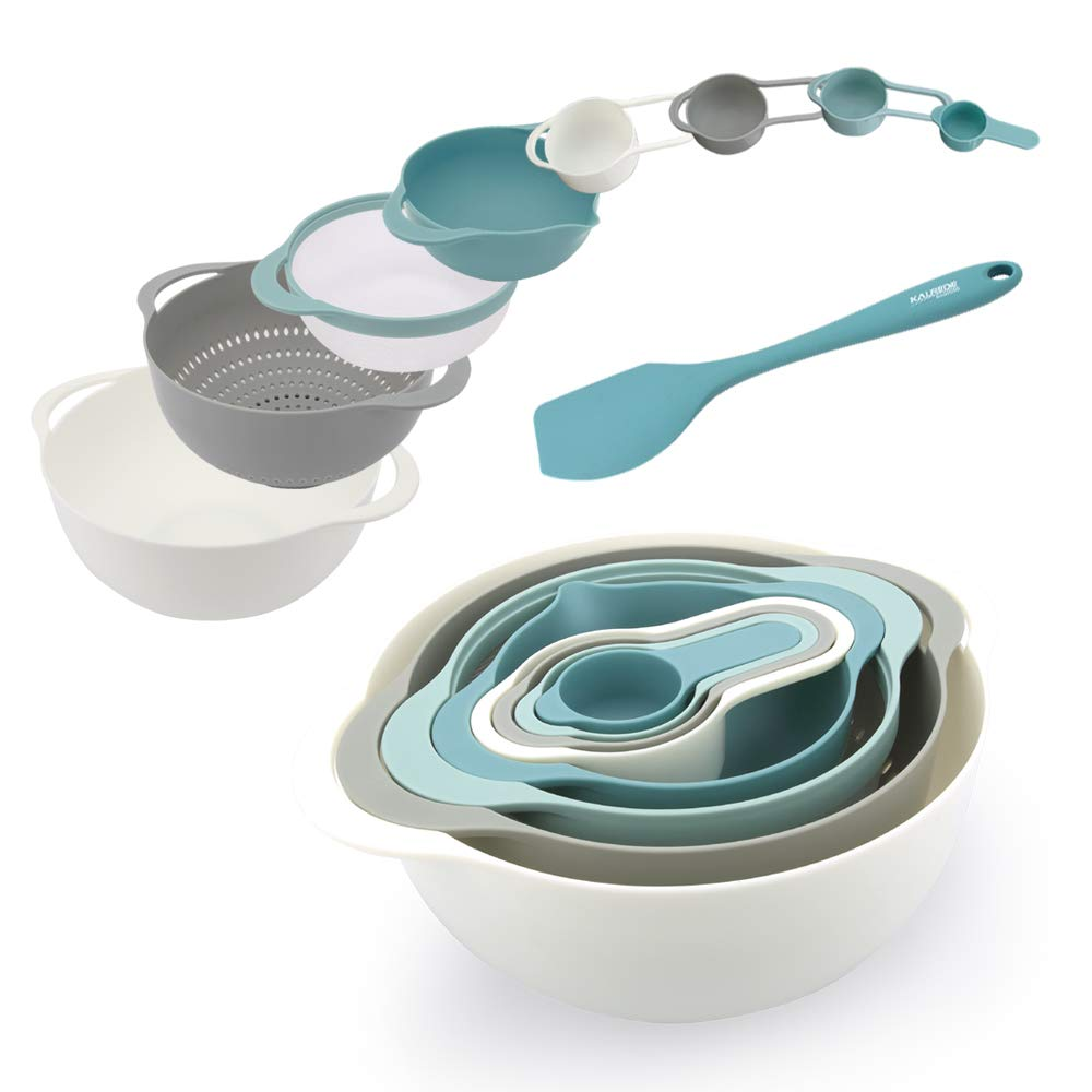 KALREDE Mixing Bowls Set Plastic 9 PCS including Silicone Spatula, Measuring Spoons, Colander, Sifter and Compact Nested Mixing Bowls(Food-Grade PP, Multi-Colour) (mixing bowls)