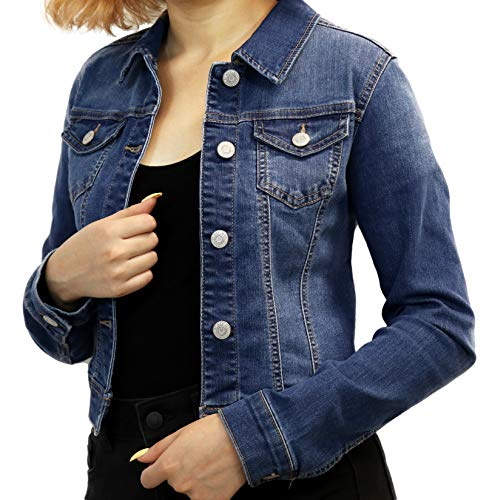 Wax Women's Basic Button Down Denim Jean Jacket (90017 MD L)