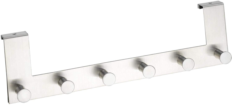 Argento 5,5 x 11 x 39 cm Opaco Attaccapanni da Porta in acciaio inox con 6 Ganci per spessori per ante fino a 2 cm