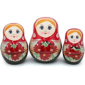 UNAMOI Matryoshka ceramic Measuring Cups, Daisy, Set of 6, Small, Red Floral