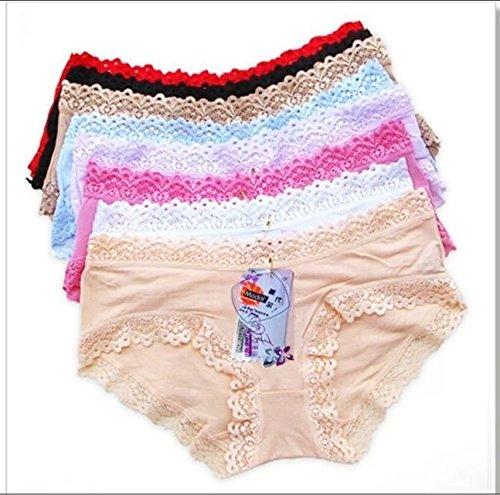 Hylong New 5pcs/lot,the underwear,lace,the cowards,panties,Low waist bud silk,cute little brief Multicolor L